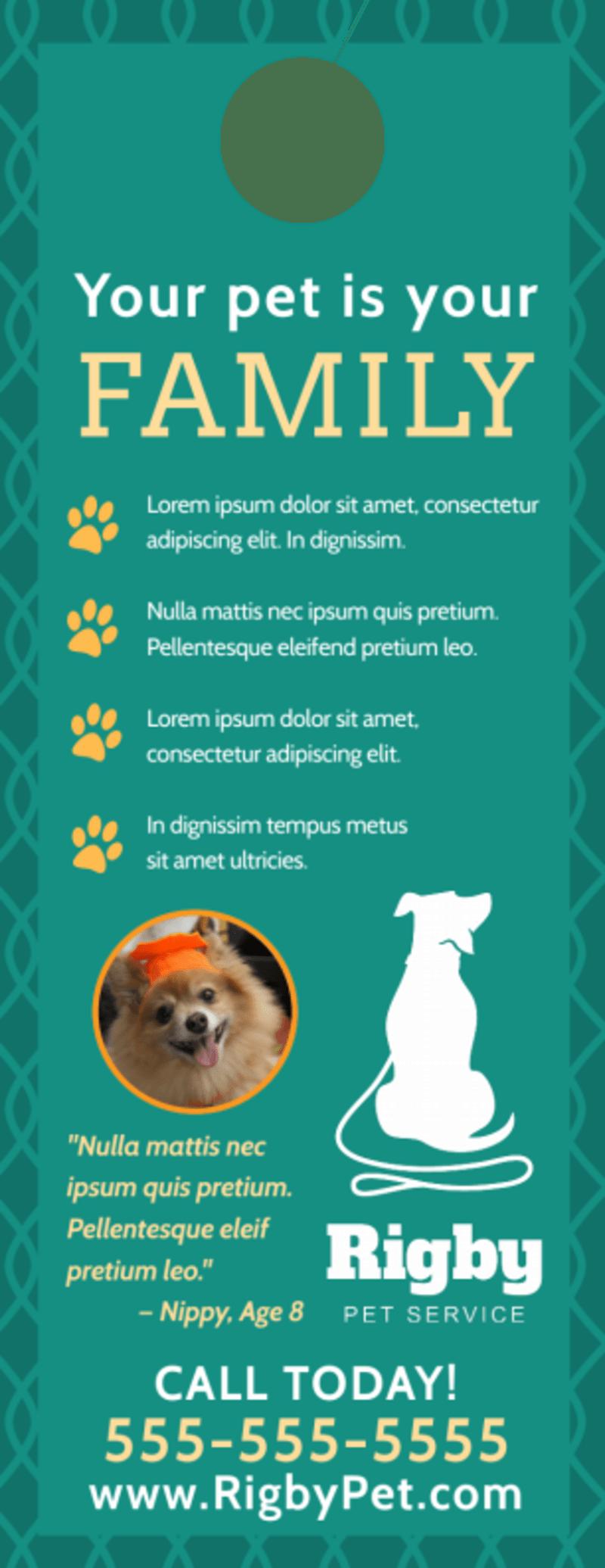 Pro Pet Sitting Door Hanger Template Preview 3
