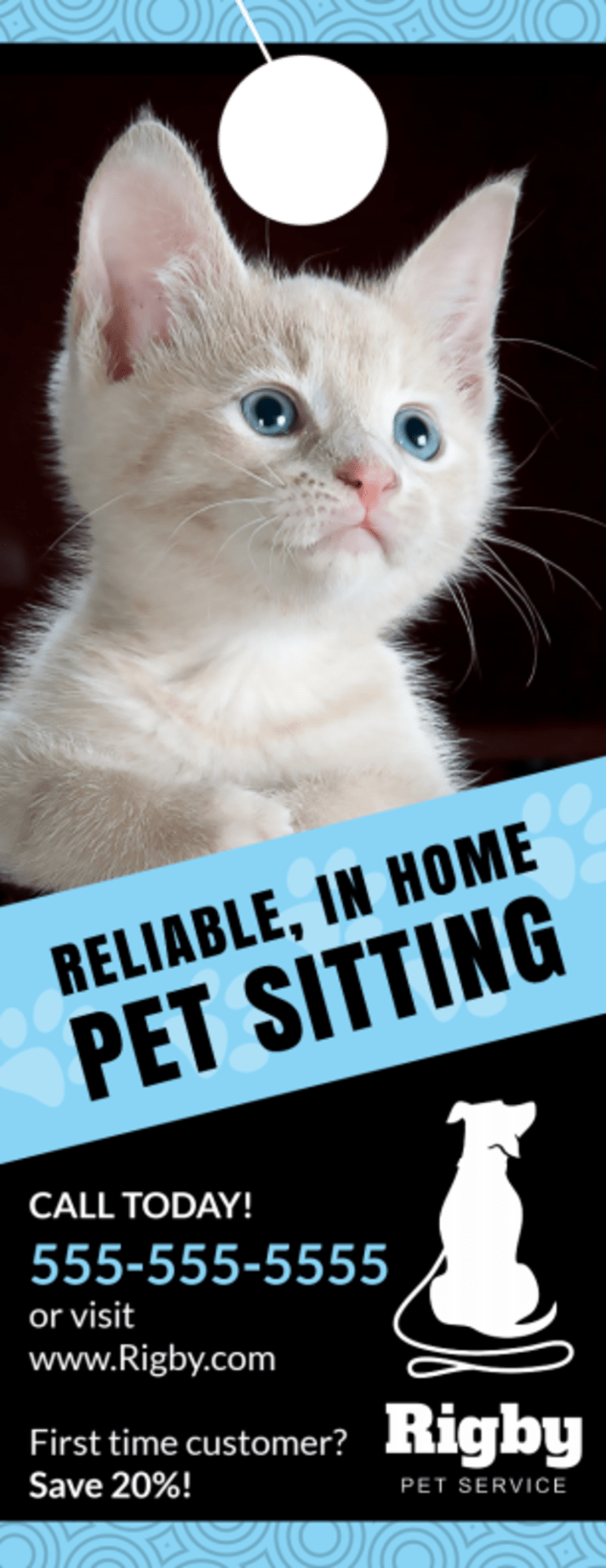 Home Pet Sitting Door Hanger Template Preview 2