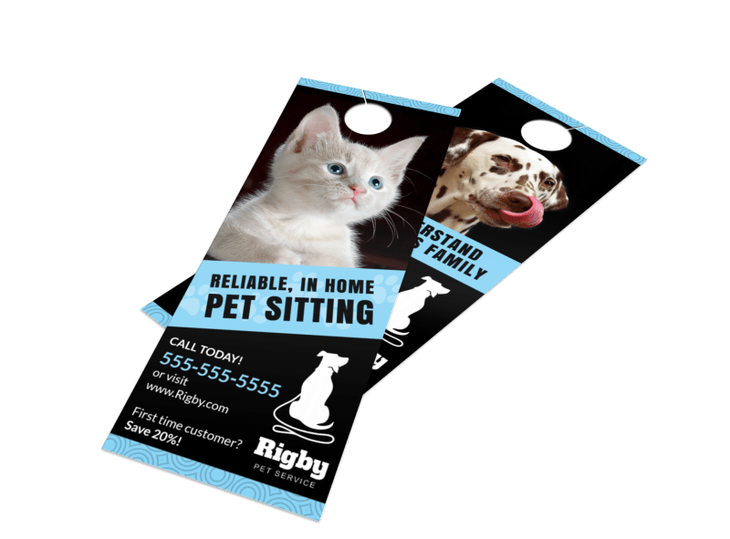 Home Pet Sitting Door Hanger Template Preview 1