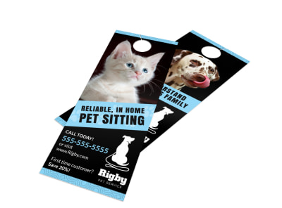 Home Pet Sitting Door Hanger Template preview