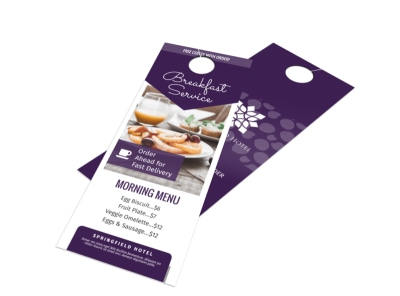 Breakfast Service Menu Door Hanger Template preview