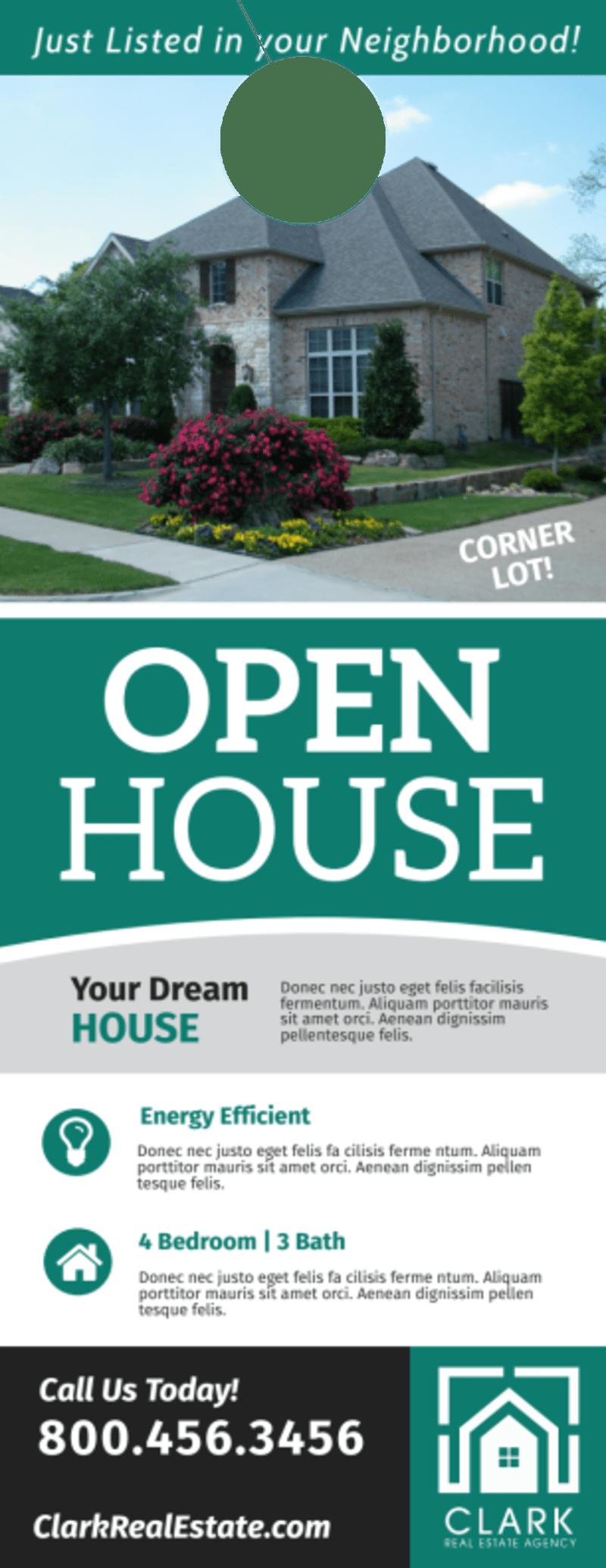 Stylish Open House Door Hanger Template Preview 2