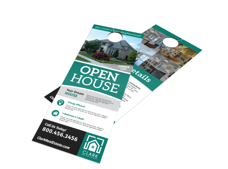 Stylish Open House Door Hanger Template Preview 1