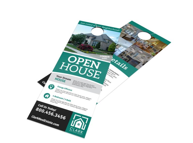 Stylish Open House Door Hanger Template Preview 4
