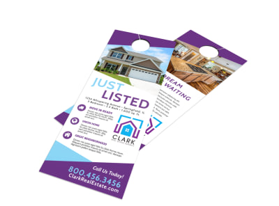 Real Estate Listed Door Hanger Template preview