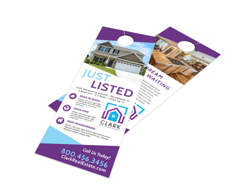 Real Estate Listed Door Hanger Template Preview 1