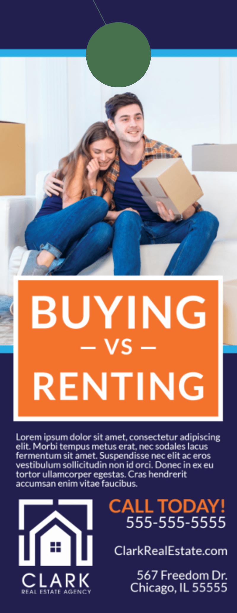 Buying Vs Renting Door Hanger Template Preview 2