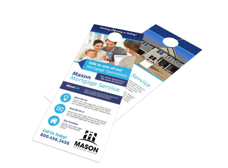 Blue Mortgage Door Hanger Template Preview 1