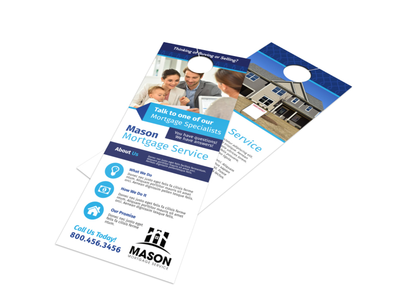 Blue Mortgage Door Hanger Template Preview 4