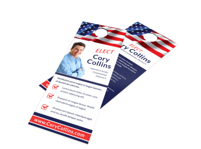 Flag Political Door Hanger Template preview