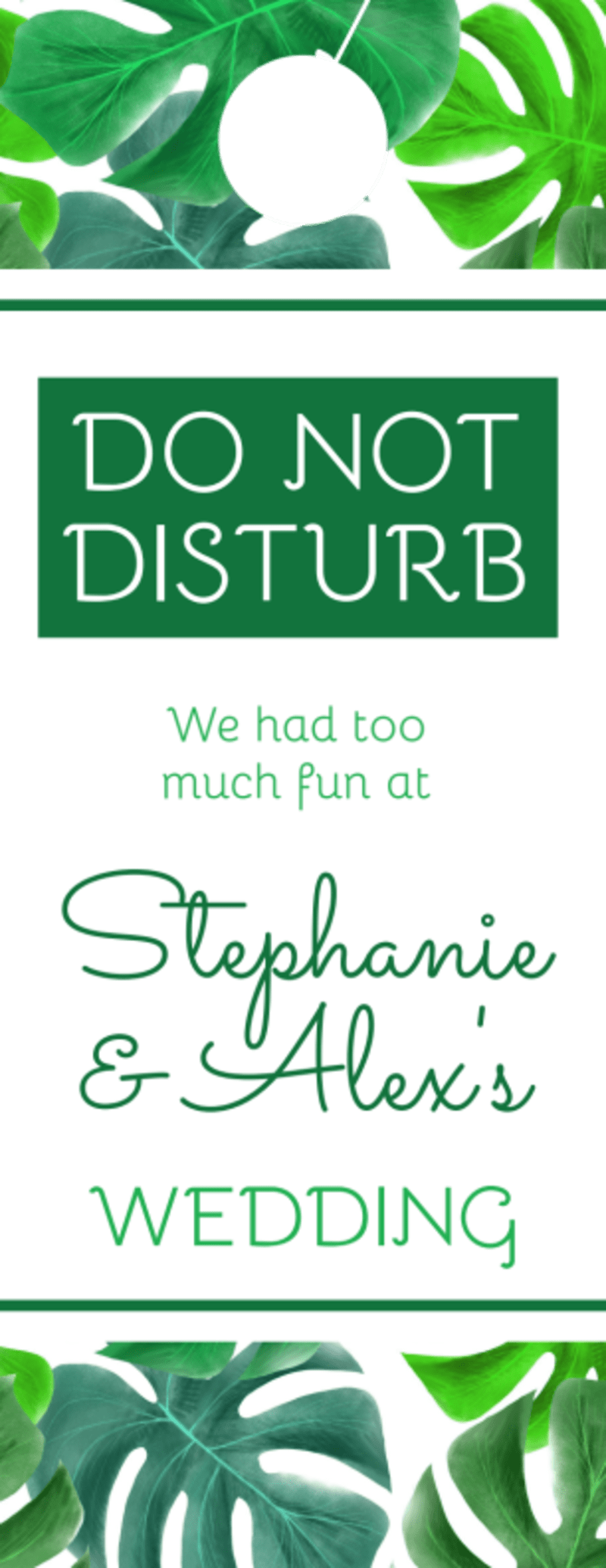 Green Wedding Door Hanger Template Preview 3