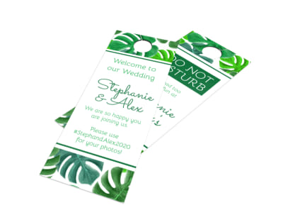 Green Wedding Door Hanger Template
