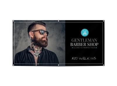 Black Barber Shop Banner Template