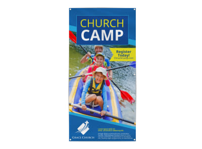Blue Church Camp Banner Template preview
