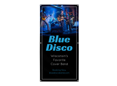Blue Disco Band Banner Template preview
