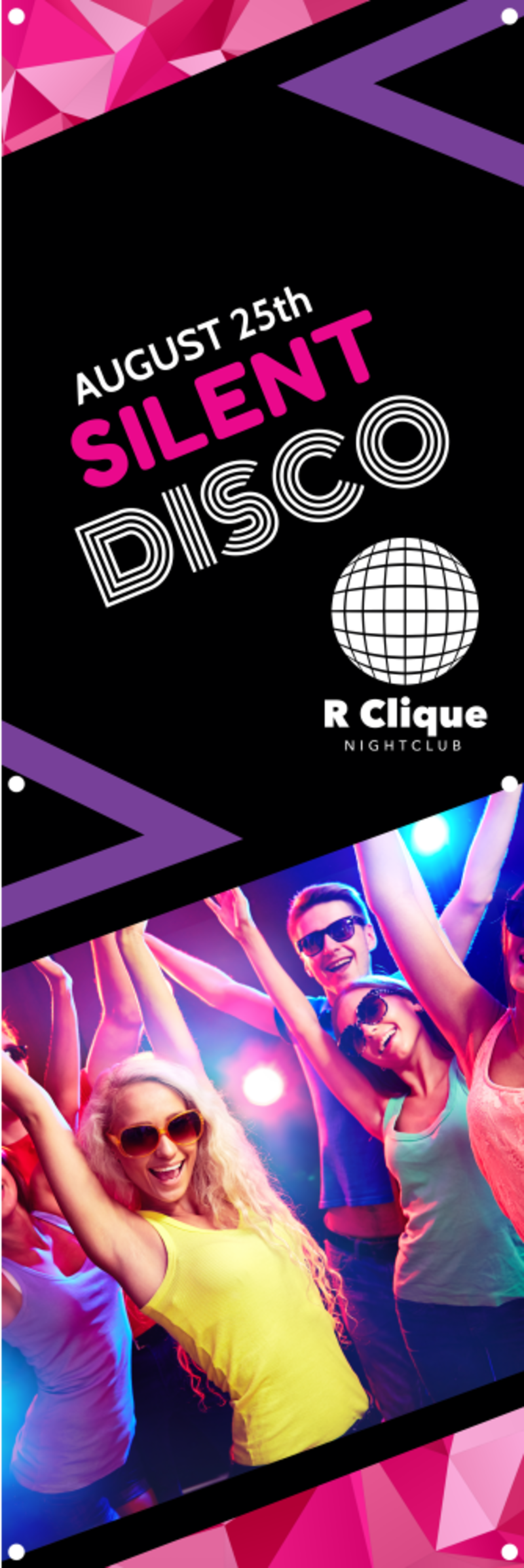 Silent Disco Party Banner Template Preview 2