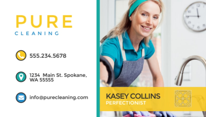 Pure Cleaning Business Card Template Preview 2