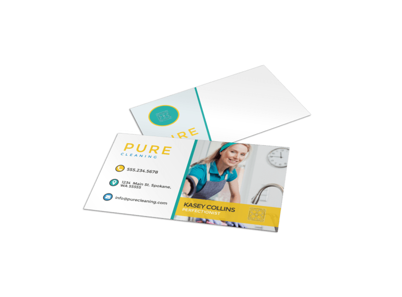 Pure Cleaning Business Card Template Preview 1