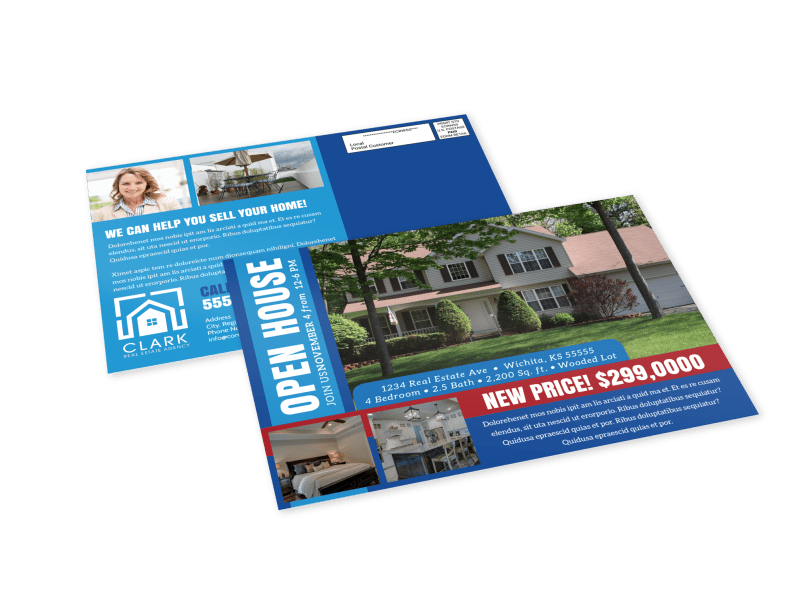 Classic Open House EDDM Postcard Template Preview 1