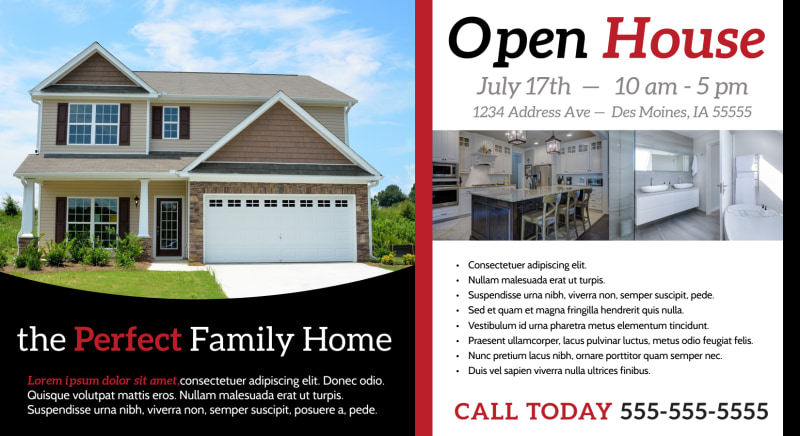 Beautiful Open House EDDM Postcard Template Preview 2