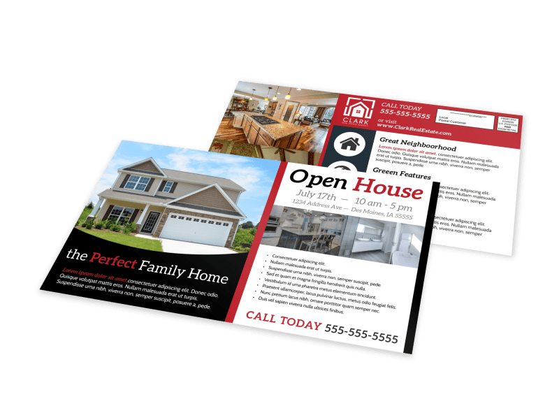 Beautiful Open House EDDM Postcard Template Preview 1