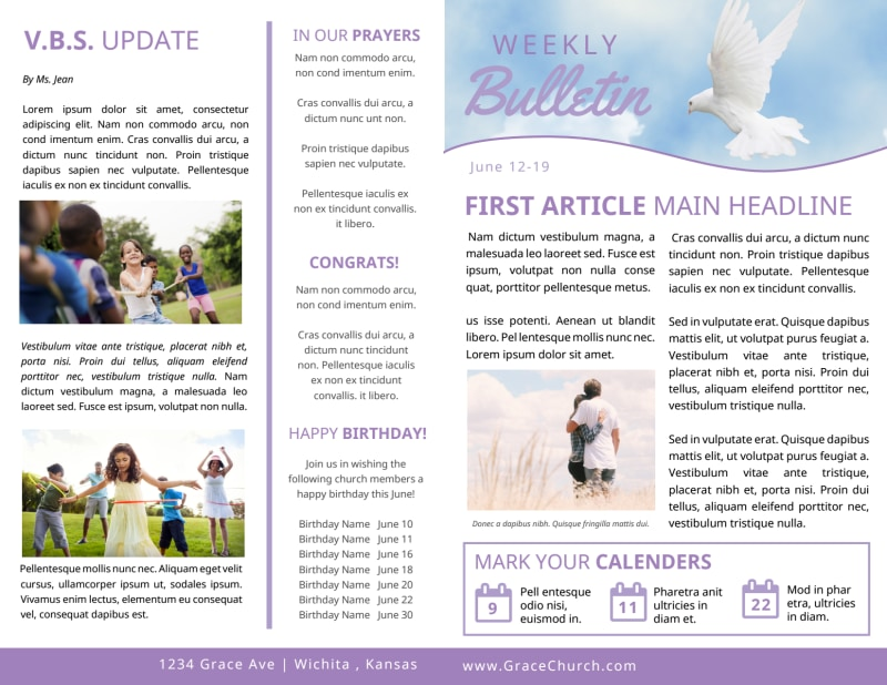 Church Weekly Bulletin Template Preview 2