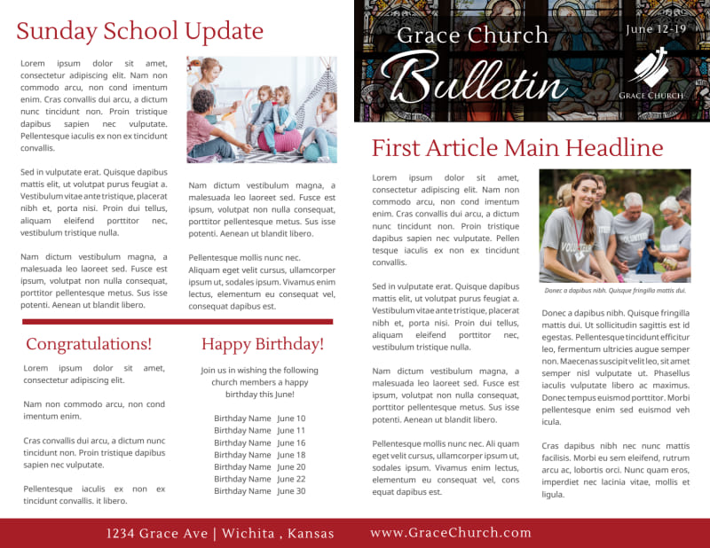 Modern Church Bulletin Template Preview 2