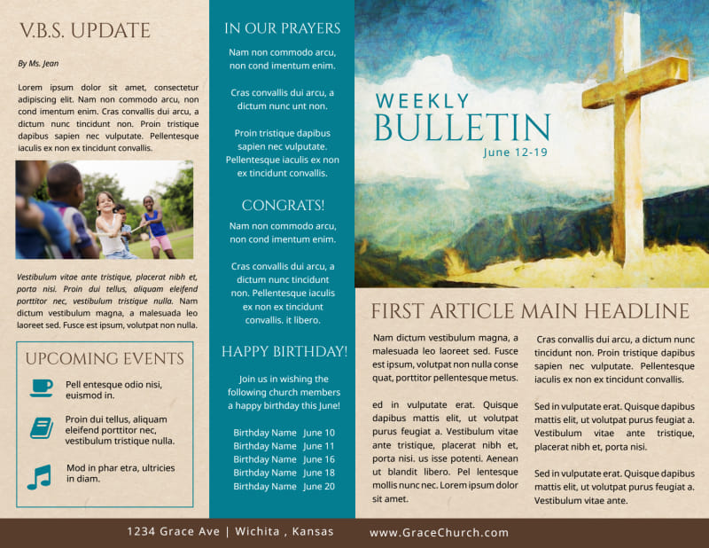 Classic Church Bulletin Template Preview 2