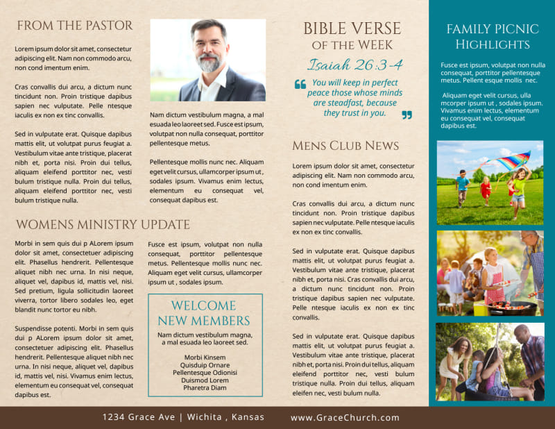 Classic Church Bulletin Template Preview 3