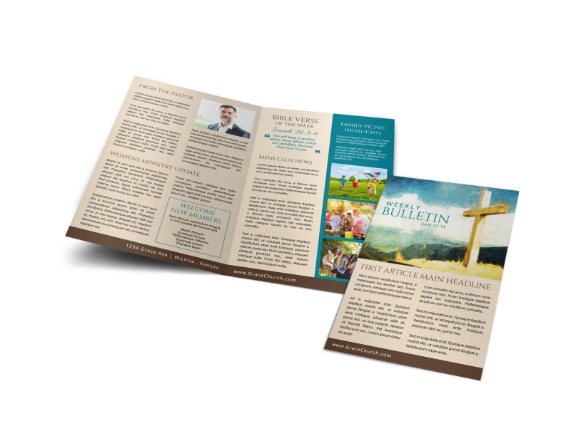 Classic Church Bulletin Template Preview 1