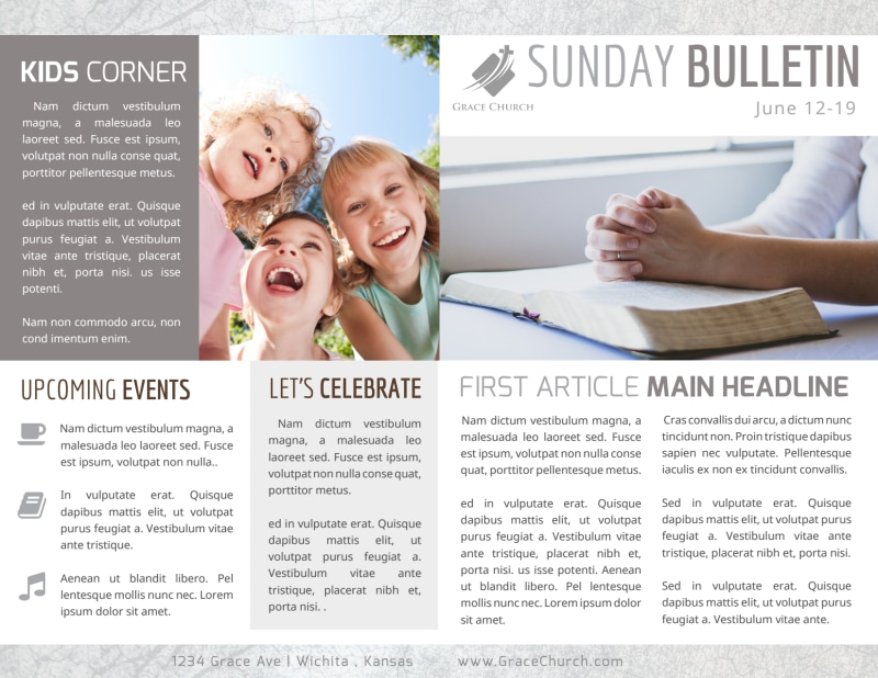 Simple Church Bulletin Template Preview 2