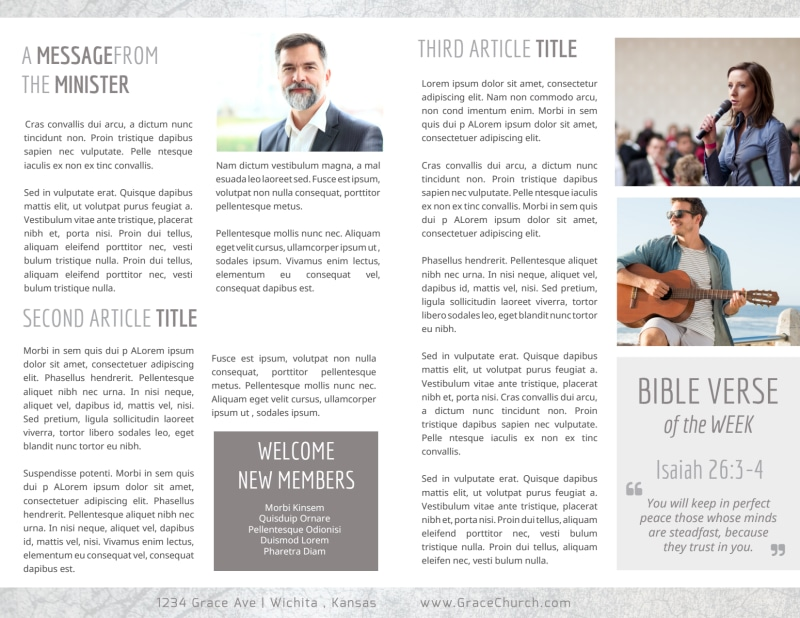 Simple Church Bulletin Template Preview 3
