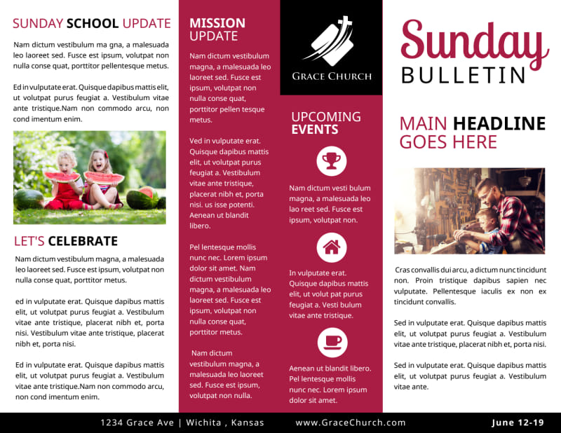 Church Sunday Bulletin Template Preview 2