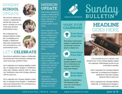 Blue Church Bulletin Template Preview 1