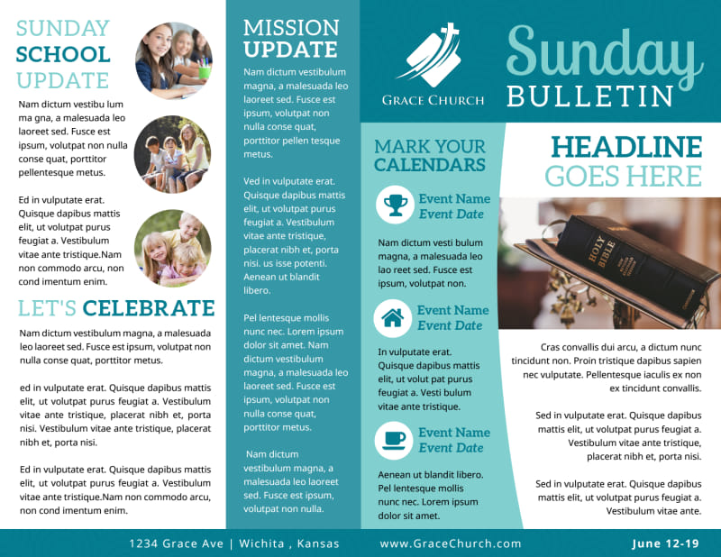 Blue Church Bulletin Template Preview 2