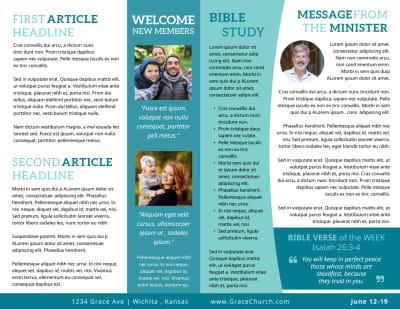 Blue Church Bulletin Template Preview 2