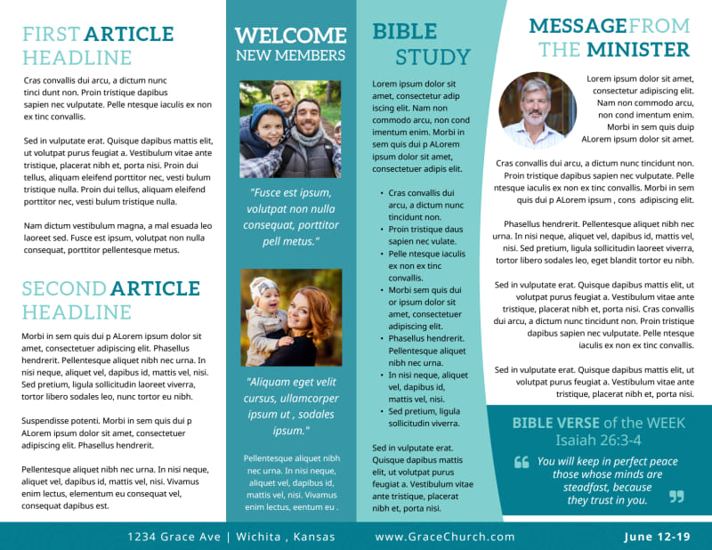 Blue Church Bulletin Template Preview 3