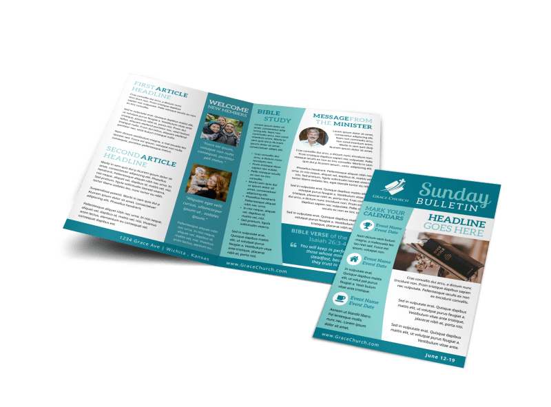 Blue Church Bulletin Template Preview 1