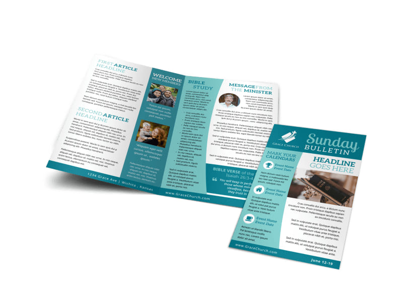 Blue Church Bulletin Template Preview 4