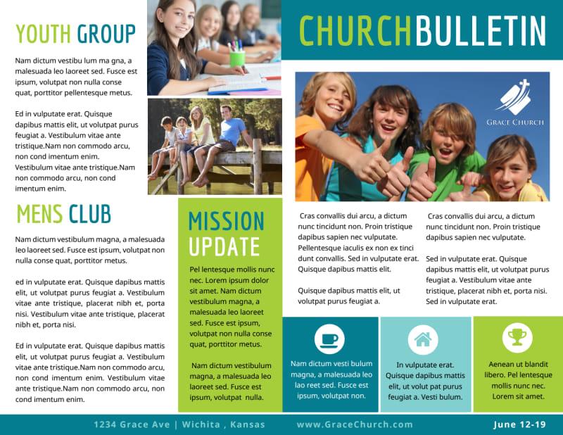Fun Church Bulletin Template Preview 2