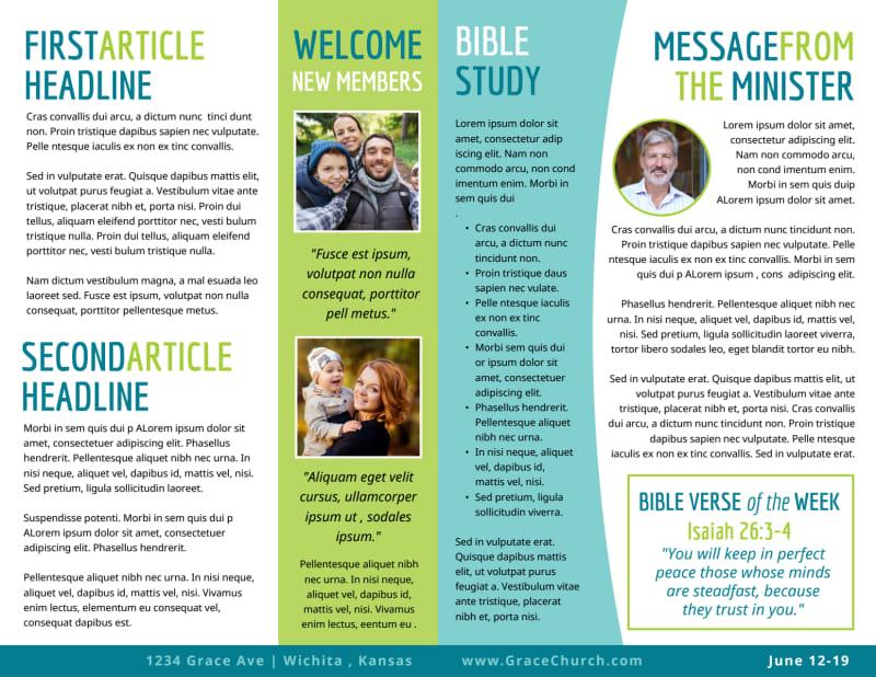 Fun Church Bulletin Template Preview 3