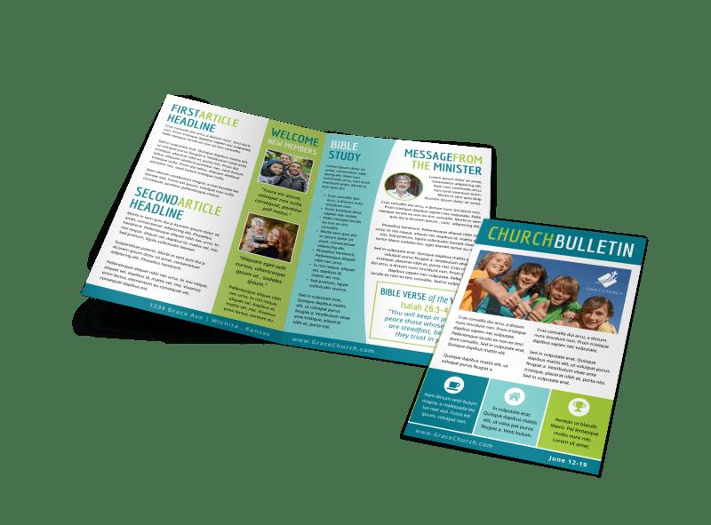 Fun Church Bulletin Template Preview 1