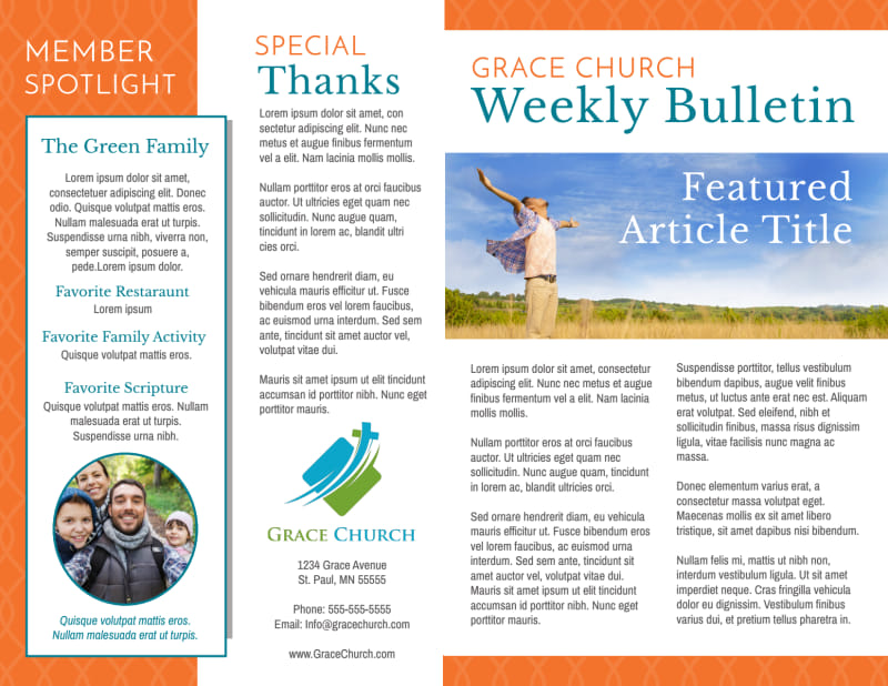 Weekly Church Bulletin Template Preview 2