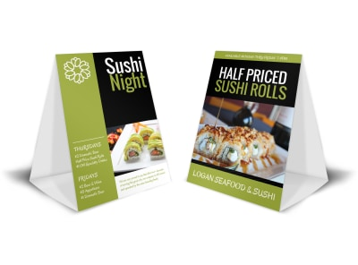 Sushi Night Table Tent Template preview