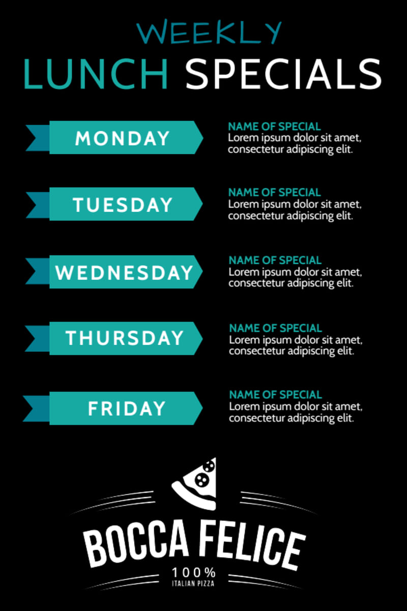 Weekly Lunch Specials Table Tent Template Preview 2
