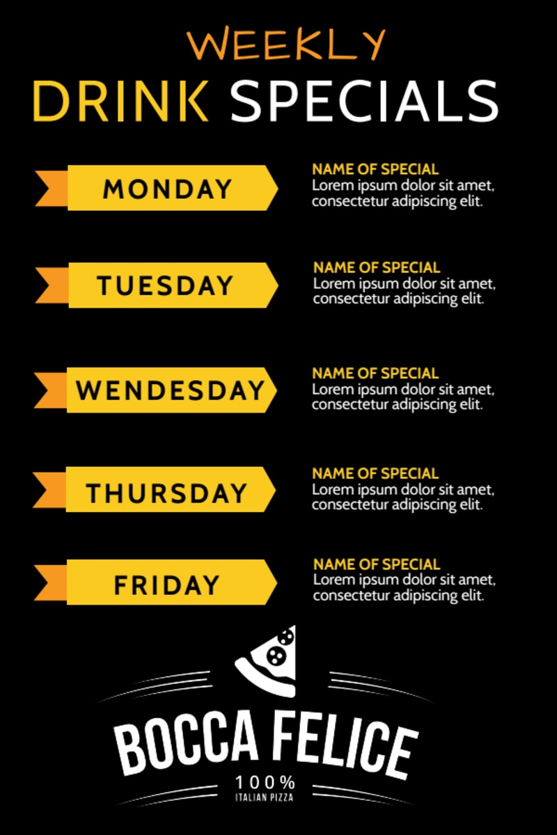 Weekly Lunch Specials Table Tent Template Preview 3