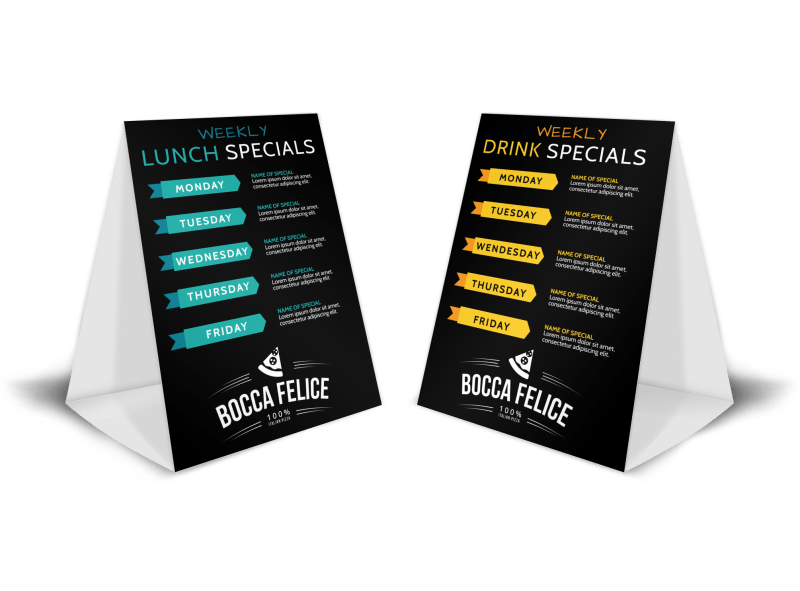 Weekly Lunch Specials Table Tent Template Preview 1