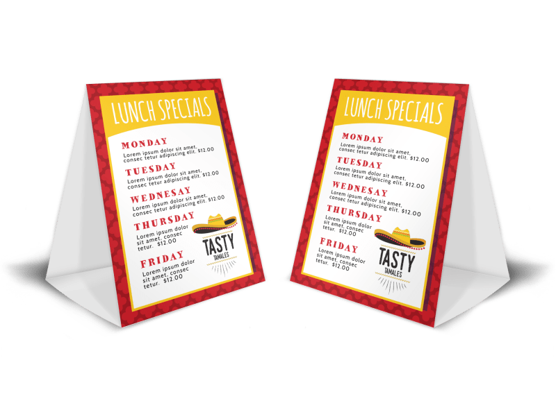 Restaurant Lunch Table Tent Template Preview 1