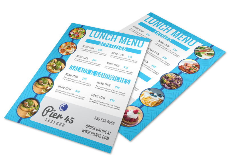 Blue Lunch Menu Template Preview 1