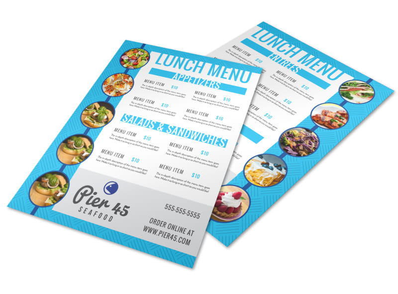 Blue Lunch Menu Template Preview 4